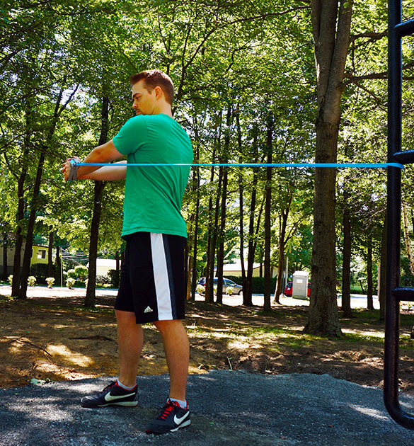 Support accessible incliné - exercise mobilite reduite bande elastique